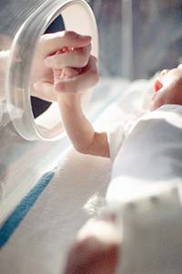 parent holding baby's hand in NICU